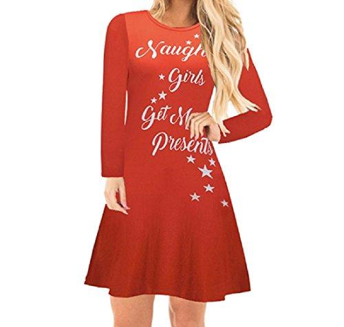 Confortables Femmes Pull-over Imprimé Noël Évasées Solide Une Robe Swing Ligne Pattern4