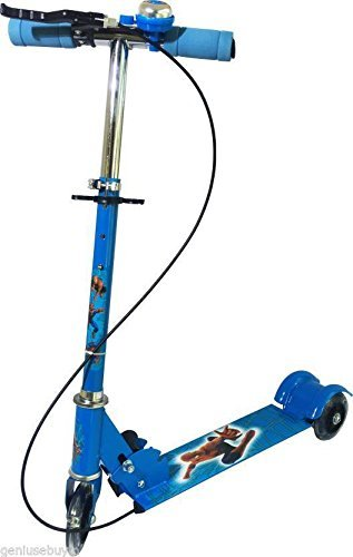 JIG'sMART 3 Wheeler Scooters for Kids Kick Foldable Scooter with Brake Bell LED Lights in Wheels and Adjustable Handle Height (3-12 Years – Blue) Price & Reviews