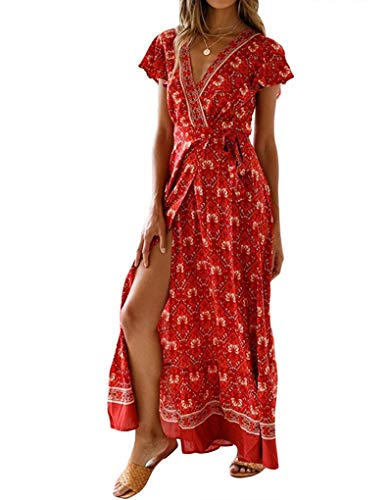 Exlura Women's Summer Boho Floral Printed V-Neck Faux Wrap Short Sleeve Split Maxi Dress with Belt Coral Red