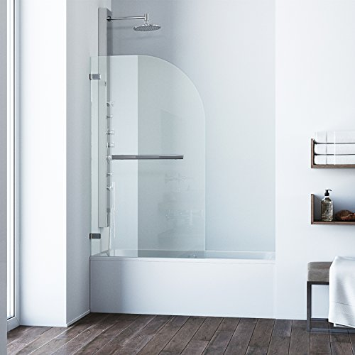 VIGO Orion 34-in. Curved Bathtub Door with .3125-in. Clear Glass and Chrome ()
