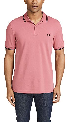Fred Perry Men's Twin Tipped Polo Shirt, Mauvewood/Black, Medium