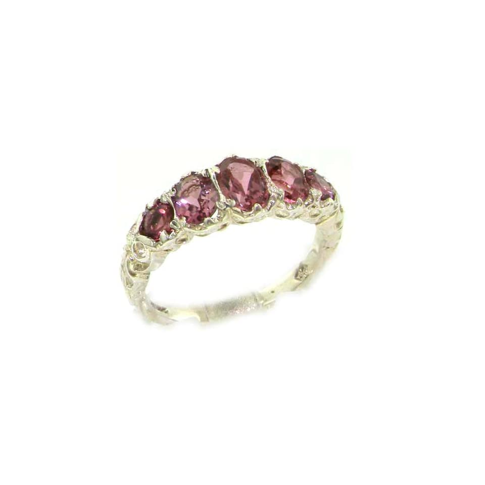 14k White Gold Natural Pink Tourmaline Womens Band Ring   Sizes 4 to 12 Available
