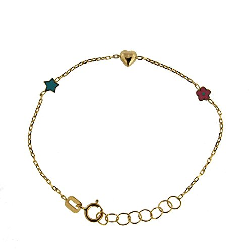 18k Yellow Gold Blue and Pink tiny one side enamel stars and polished center heart bracelet 5.6 inch with extra rings starting at 4.8 inch by Amalia