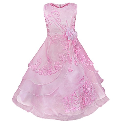 iiniim Girl's Pageant Party Embroidered Flower Princess Dress Dance Ball Gown Pink 7-8 (Dresses Pink Ball Gown)