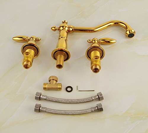 Furesnts Modern home kitchen and bathroom faucet Luxury Mixer Faucets Kitchen Bathroom three piece copper alloy double-handle Faucets SinkFaucets,(Standard G 1/2 universal hose ports)