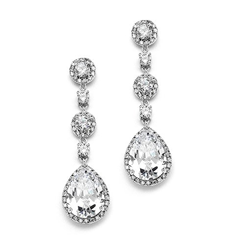 (Mariell's Pear-Shaped CZ Teardrop Dangle Platinum Plated Clip-On Wedding Earrings for Brides)