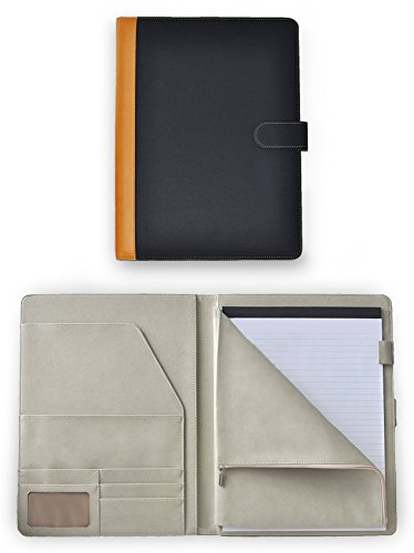 Deluxe Leather Padfolio Portfolio Document Organizer With Zippered Closure Storage Pouch For Tablet PC / iPad / Kindle, Magnetic Closing Strap, Business Card Holders, Legal Size Writing Pad Included (Document Organizer Deluxe)