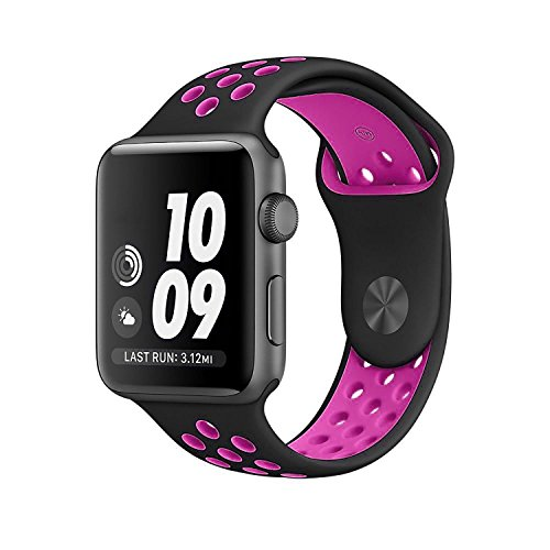 Apple Watch Band Nike+ 38mm/42mm Replacement, Kobwa Quick Release Soft Silicone Sport IWatch Bracelet Strap For Apple Watch Series 1 and 2.