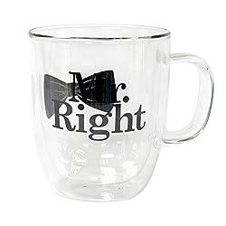 Top Shelf Mr. Right Double Wall Glass Coffee Mug, Multicolor
