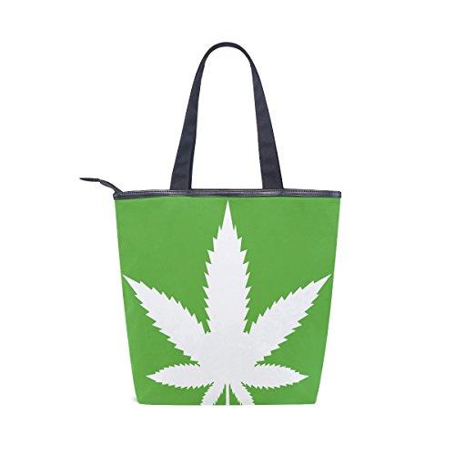 Handbag Cannabis Green Canvas Marijuana Bag Womens Shoulder MyDaily Tote Leaves ax6qwzwFT