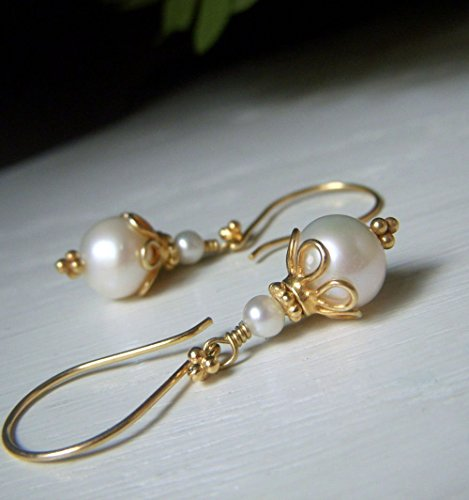 - White Real Freshwater Pearl Earrings - Gold Round Dangle - Bridal Jewelry