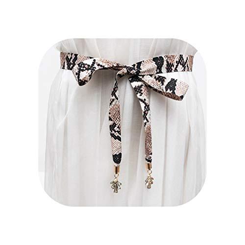 Snake Grain Lady Bowknot Belt Matching for Dress Shirt Cloth Serpentine Waist Rope,C1