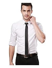 Landisun Skinny Black Tie Silk Tie Satin Slim Necktie Exclusive 2 inch