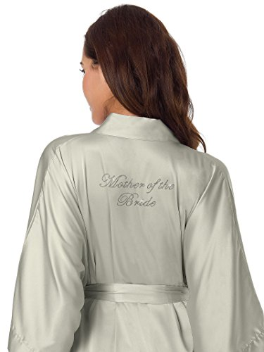SIORO Women's Satin Robe Silk Kimono Robe Wedding Party Robe Personalized Mother Of The Bride Shower Bath Robe Bridal Pajamas Ladies Sleepwear Short Sky Gray M//ZS1604CPP09A//