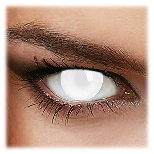 Contact For Halloween (Blind White Portable Contact Lens Box + Eyewear + Exclusive Packaging ideal for Parties, Costumes and Fancy)