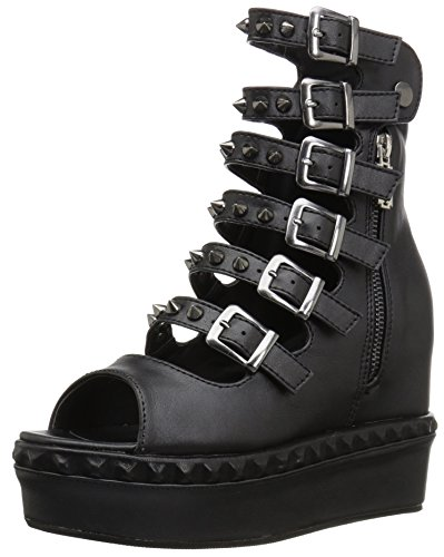 Sprite-02-Plattform Mary Jane schoen mit Blumendruck und schwarzen Fußkettchen - (EU 40 = US 10) - Demonia