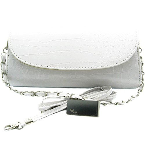 Missy K Crocodile Skin Embossed Faux Leather Clutch Purse - White, with detachable strap and belt + kilofly Money Clip