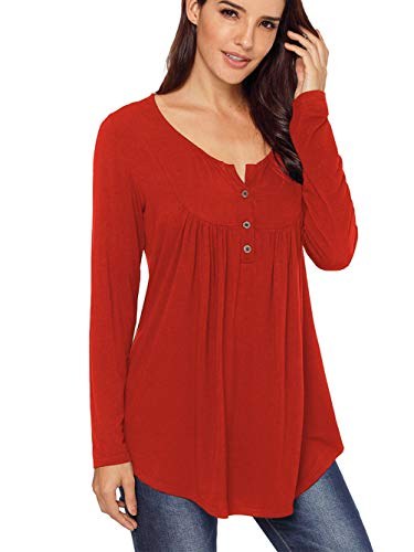 Famulily Womens Flowy Long Sleeve Tunic Tops V Neck Buttons up Pleated Blouse Shirt #2 Wine L (Top Long V-neck Sleeve Tank)