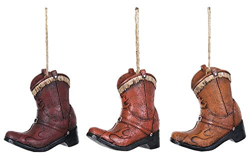 Special T Imports Western Cowboy Boots Hanging Ornaments - Set of 3
