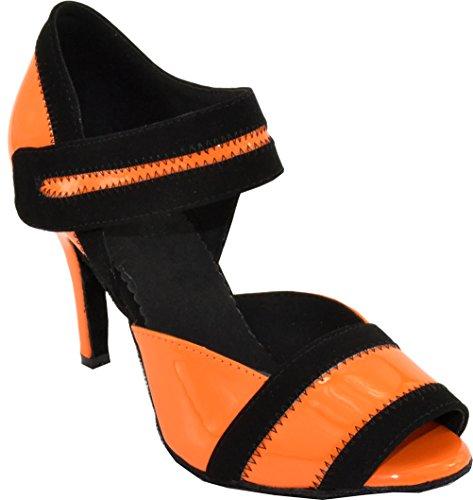 Abby Womens Comfort Latin Modern Tango Cha-cha Custom Heeleep Peep-toe Pu Professionele Dansschoenen Oranje