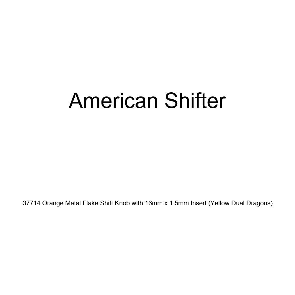 American Shifter 37714 Orange Metal Flake Shift Knob with 16mm x 1.5mm Insert Yellow Dual Dragons