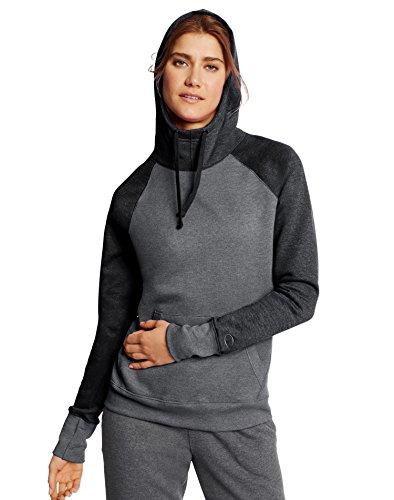 Champion Women's Fleece Pullover Hoodie, Granite Heather/Black, Small