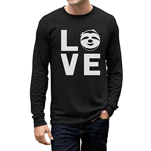 Love Sloths - Lazy Sloth Smiling Face - Animal Lovers Long Sleeve T-Shirt Medium Black