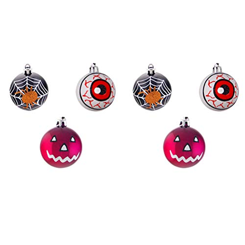 - Amosfun Halloween Hanging Ball Decoration Blood Eye Spider Net Pumpkin Smile Ornaments for Festival Party 6Pcs
