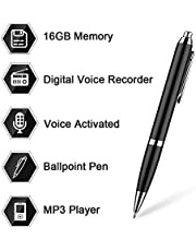 16GB Digital Voice Recorder Pen by Aizhy,Pocket Voice Activated Recorder Pen,Dictaphone, MP3 Player 3-in-1 with Mini USB Disk,One Button Recording and Saving Perfect Speeches
