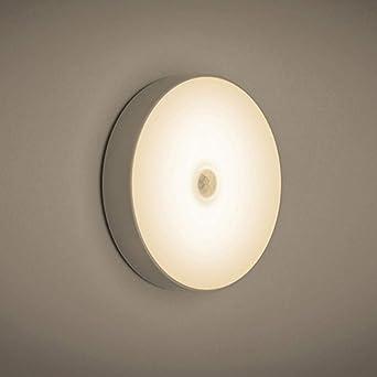 6 LED PIR Sensor de movimiento Luz de noche Encendido/apagado automático para escaleras de dormitorio Armario Armario Lámpara de pared USB-Warm_white: Amazon.es: Iluminación