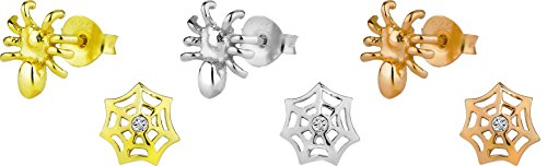Hypoallergenic Sterling Silver Halloween Web & Spider Mismatched Stud Earrings for Kids (Nickel Free)