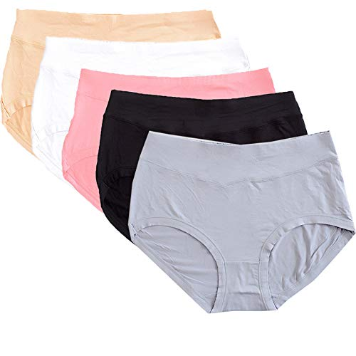 Warm Sun Women's Bamboo Viscose Fiber Multi Pack Plus Size Stretchy Soft Breathable High Middle Waist Panties Size S-3XL(7/L,Black,Gray,Skin,Rouge,White)
