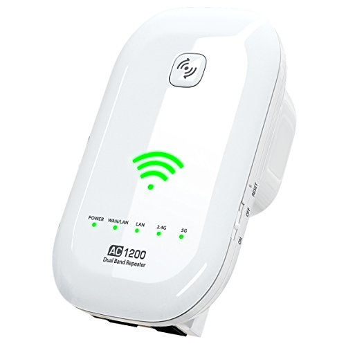 NEWEST 2018 WiFI Extender Internet Booster Signal Extenders Wireless Repeater 2.4GHz 5GHz Dual Band Up to 1200 Mbps - Best Range Network Plug-In - 360 Degree Full Coverage - 33 ft range