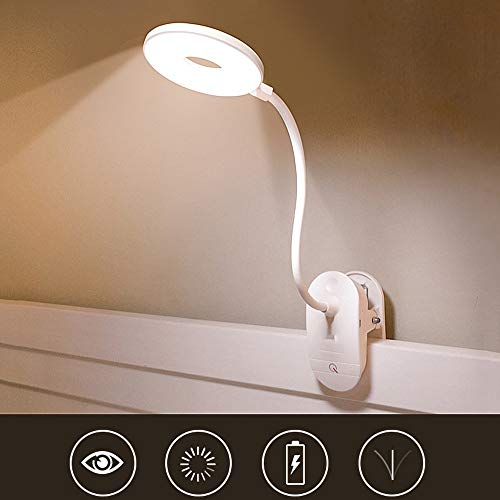 SHELLTB Lampara LED con Clip Dimmable Eye-Care Recargable LED luz de Lectura para Cama de Escritorio cabecero de Ordenador,White