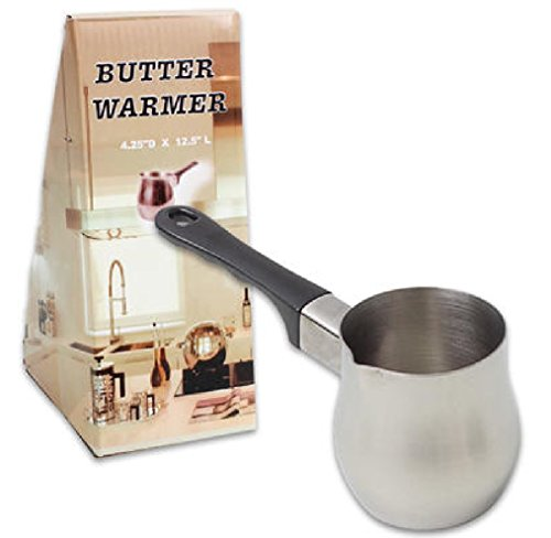 Steel Butter Warmer, Turkish Coffee Warmer, Butter Melting Pot with Small Pouring Spout, Black Handle