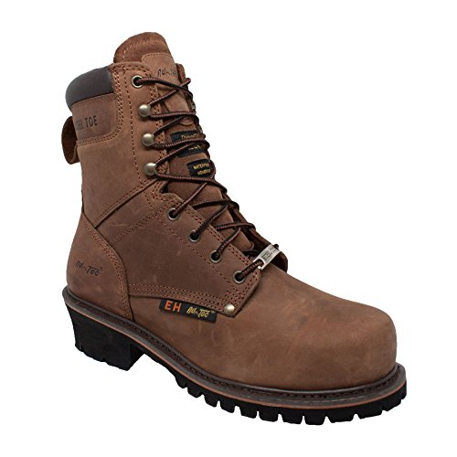 "- ADTEC Men's 9"" Super Logger with Steel-Toe, Waterproof Goodyear Welt, Leather, Utility Boot 200g, Brown, 10 M US"