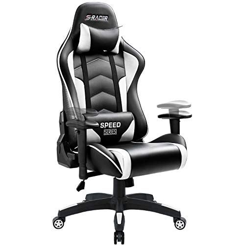 Homall Gaming Chair High Back Computer Chair Racing Style Office Chair Embossing Design Pu Leather Bucket Seat Desk Chair with Adjustable Armrest Ergonomic Headrest and Lumbar Support White