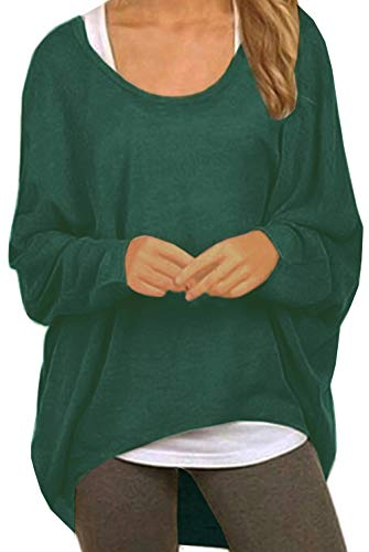 UGET Women's Sweater Casual Oversized Baggy Off-Shoulder Shirts Batwing Sleeve Pullover Shirts Tops Asia M Deep ()