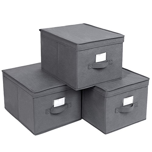 - SONGMICS Large Storage Cubes Bin Box with Lids and Handles, Non-Woven Fabric Foldable Cloth Organizer for Home, Office, Nursery, Closet, Bedroom, Living Room, Set of 3, Grey URLB40GY