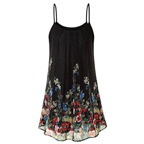FEITONG Women's Casual Sleeveless Chiffon Boho Print Short Mini Dress Sundress Top ()