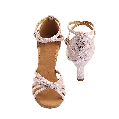 Tacón Tacón de para Rosa Baile Medio VESI de Mujer Alto Zapatos 37 5cm Latino q1nIX7