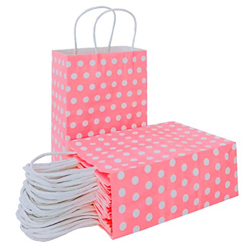 25 PCS Pink Paper Gift Bags with Handles Polka Dot Paper Party Favor Bags for Kid's Birthday Wedding Holiday Party Supplies by ADIDO EVA(8.2 x 6 x 3.1 in Neon Pink)