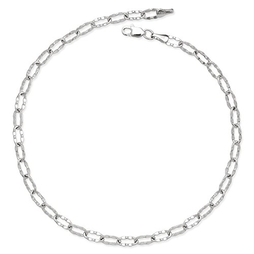 Hammered Oval Link Chain - JewelryWeb 14k Gold 10-inch Flat Hammered Oval Link Chain Anklet (Yellow or White) (White-Gold)