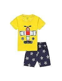 Hooyi Baby Boy Sleepwear Cotton Children Short Sleeve Airplane Pajamas Set