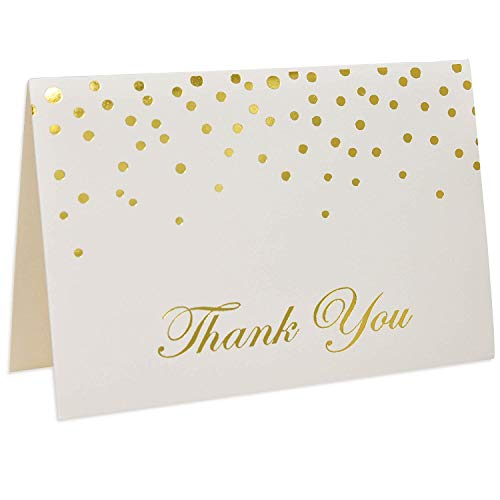 Metallic Gold Foil Dots Thank You Cards with Envelopes, Set of 48 Printable Blank Confetti Card for Wedding Holiday Teacher Appreciation Bridal & Baby Shower Engagement Graduation Birthday Party