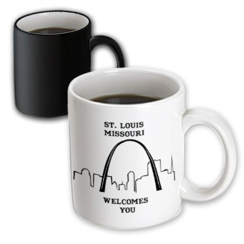 3dRose St. Louis Missouri Welcomes You Line Art Magic Transforming Mug, - St Louis Outlet
