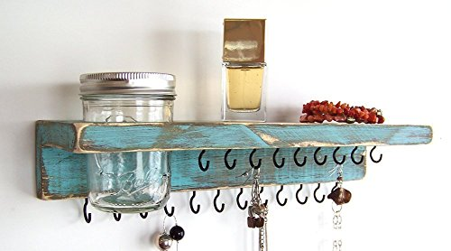 Jewelry Holder with Shelf and Mason jar, Other Distressed Colors Available, Custom orders welcome! from Out Back Craft Shack