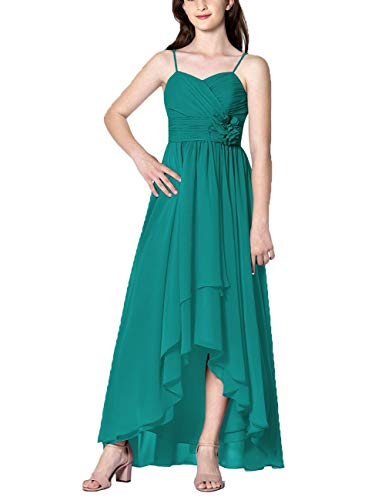 Cdress High Low Bridesmaid Dresses Chiffon Prom Party Dress Evening Formal Gowns Sweetheart Appliques Sleeveless US 2 Dark Turquoise