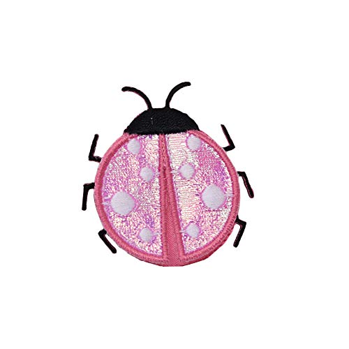 (Small Pink Ladybug Iron on Embroidered Patch)