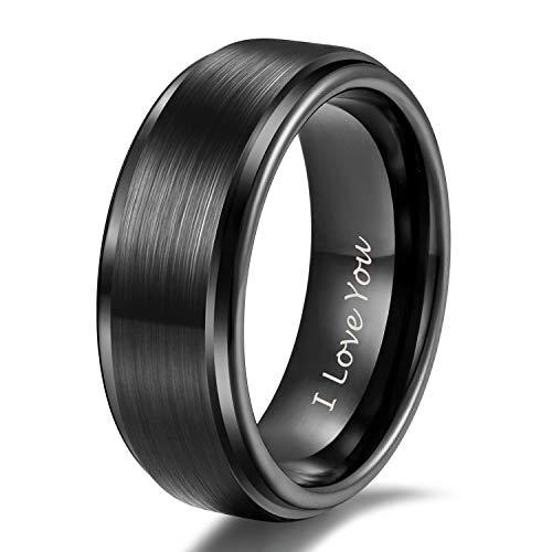 Shuremaster 8mm Tungsten Carbide Wedding Rings Men Women Black Brushed Engraved I Love You Comfort Fit Size 10